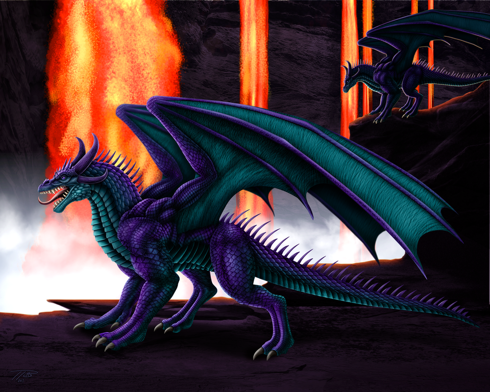The Dragon and the Magma canyon by DragonosX