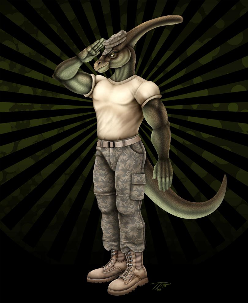 Alex the Parasaurolophus Soldier by DragonosX