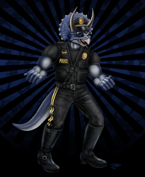 Ray the Triceratops Cop by DragonosX