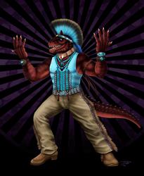 Felipe the Carnotaurus Warrior by DragonosX