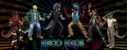 Disco Dinos: Mesozoic Macho Men by DragonosX