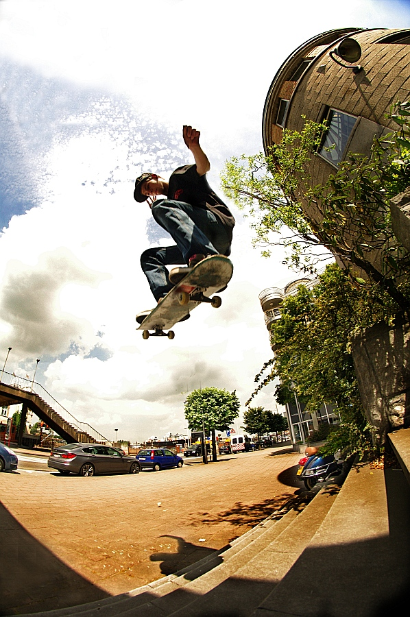 Skateboarding - Ollie 8 stair by jvg2