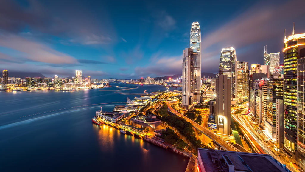 Hong Kong Harbour Night Lights-1920x1080 by DarkEagle2011