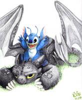 Toothless and Stitch by Katarina-von-Wolfen