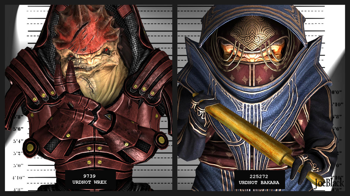Mugshot - Wrex and Bakara by JoesHouseOfArt