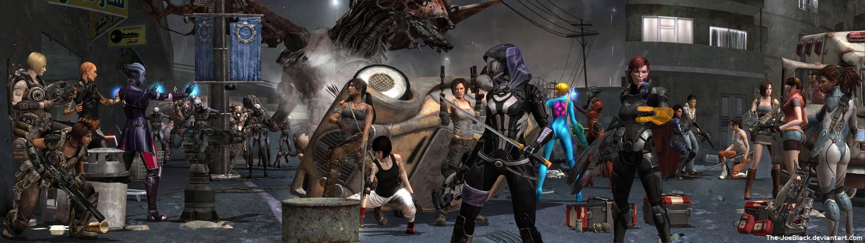 Gamings Toughest Girls Dual Screen Wallpaper By