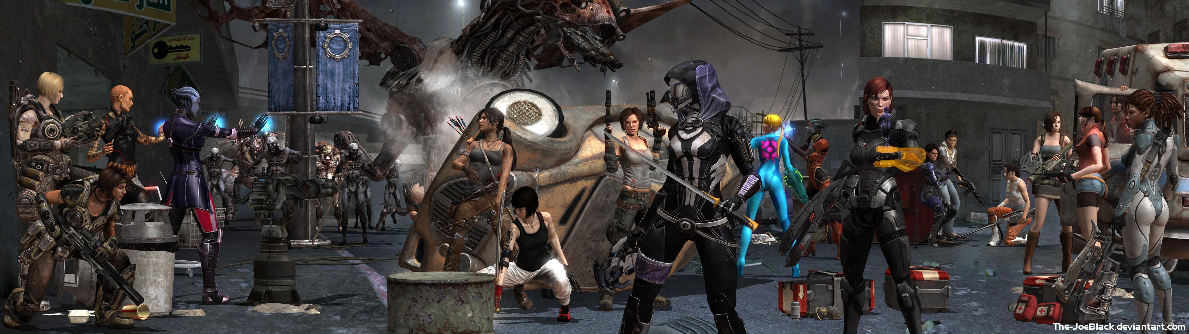 Gaming's toughest girls - Dual Screen Wallpaper by JoesHouseOfArt