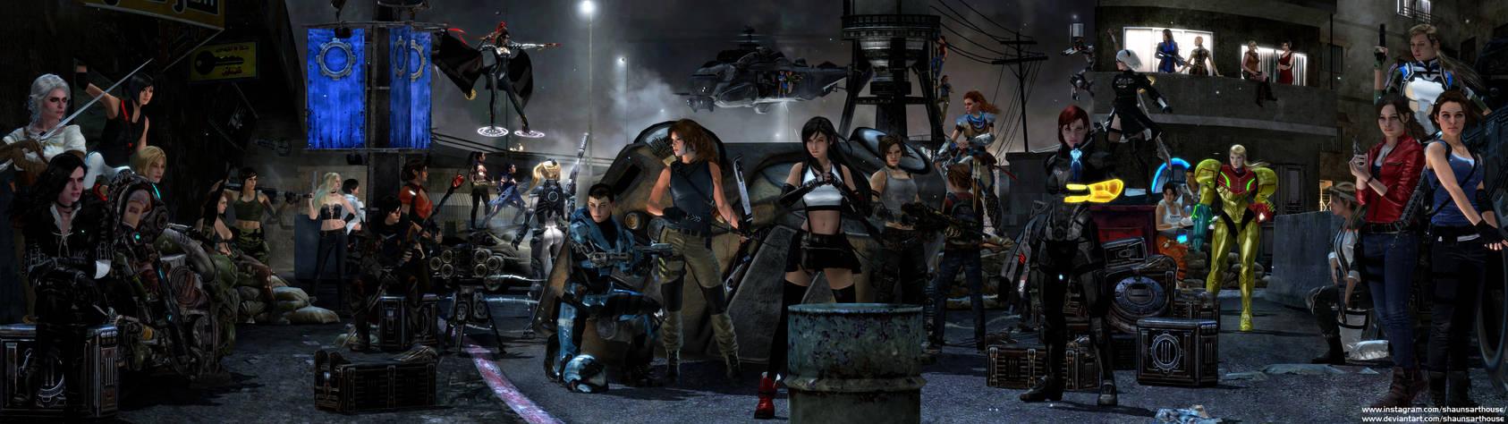 Gaming's toughest girls - Dual Screen Wallpaper