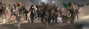 Avengers MCU Bad Guys - Dual Screen Wallpaper by ShaunsArtHouse