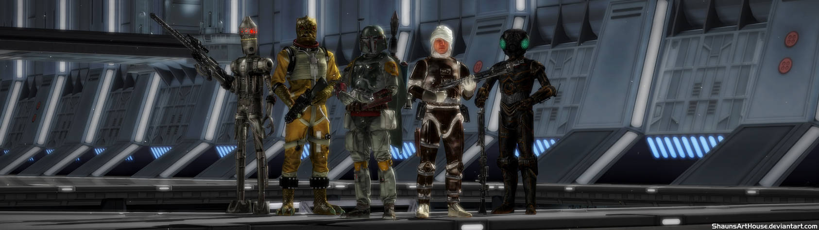 Star Wars Og Bounty Hunters Dual Screen Wallpaper By
