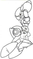 megaman and megaman x lineart by trunks24