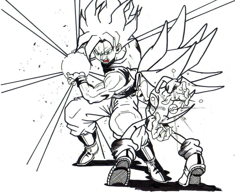 Majin Vegeta Vs Ssj2 Goku Lineart By Brusselthesaiyan On: Ssj Goku Vs S Sonic Lineart 2 By Trunks24 On DeviantArt