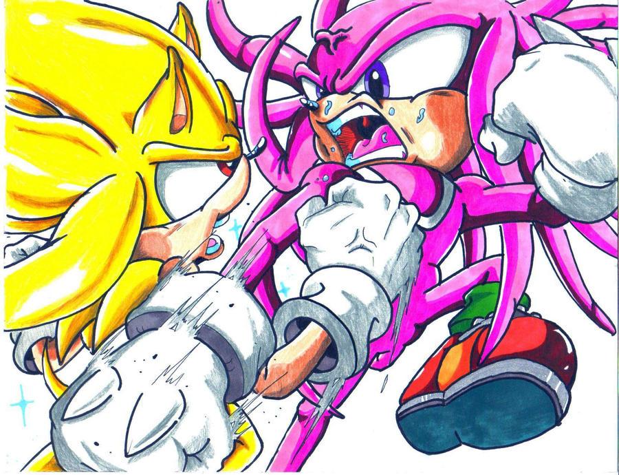 super sonic vs hyper knuckles by trunks24 on DeviantArt