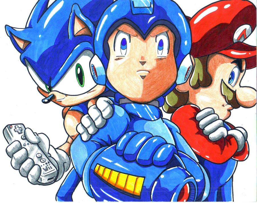 sonic megaman mario Wiibuddies by trunks24