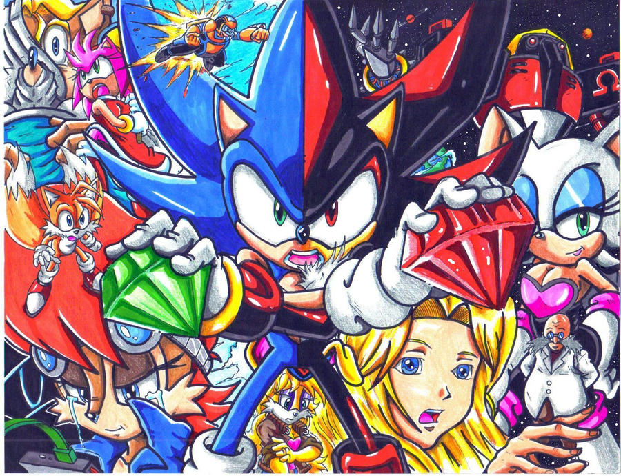 sonic and shadow WHO WE PROTECT CL by trunks24 on DeviantArt
