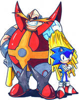 Archie Dr. Ivo Robotnik and Sonic CL by trunks24