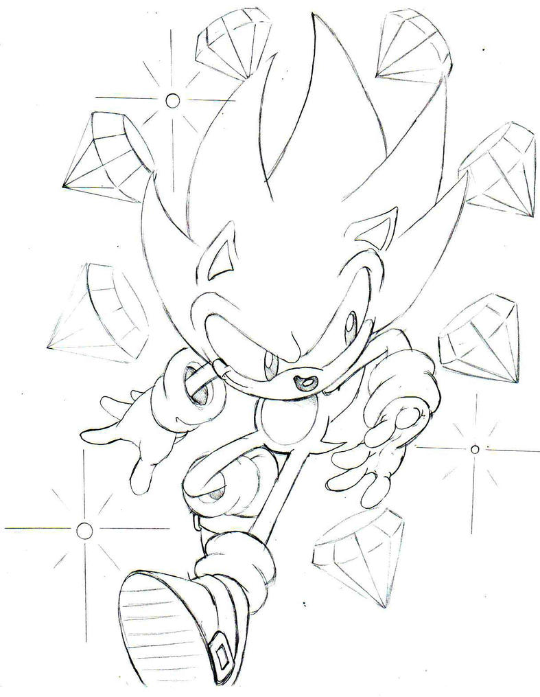 classic super sonic sketch by trunks24 on deviantart - Classic Super Sonic Coloring Pages