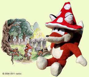 Raxfox Plushie 5- The Mushroom by Raxfox