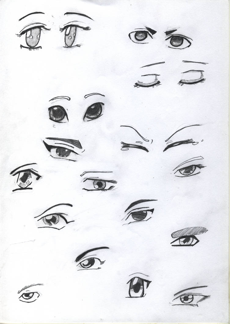 Practice Sketck: Anime Eyes by flamingcreater