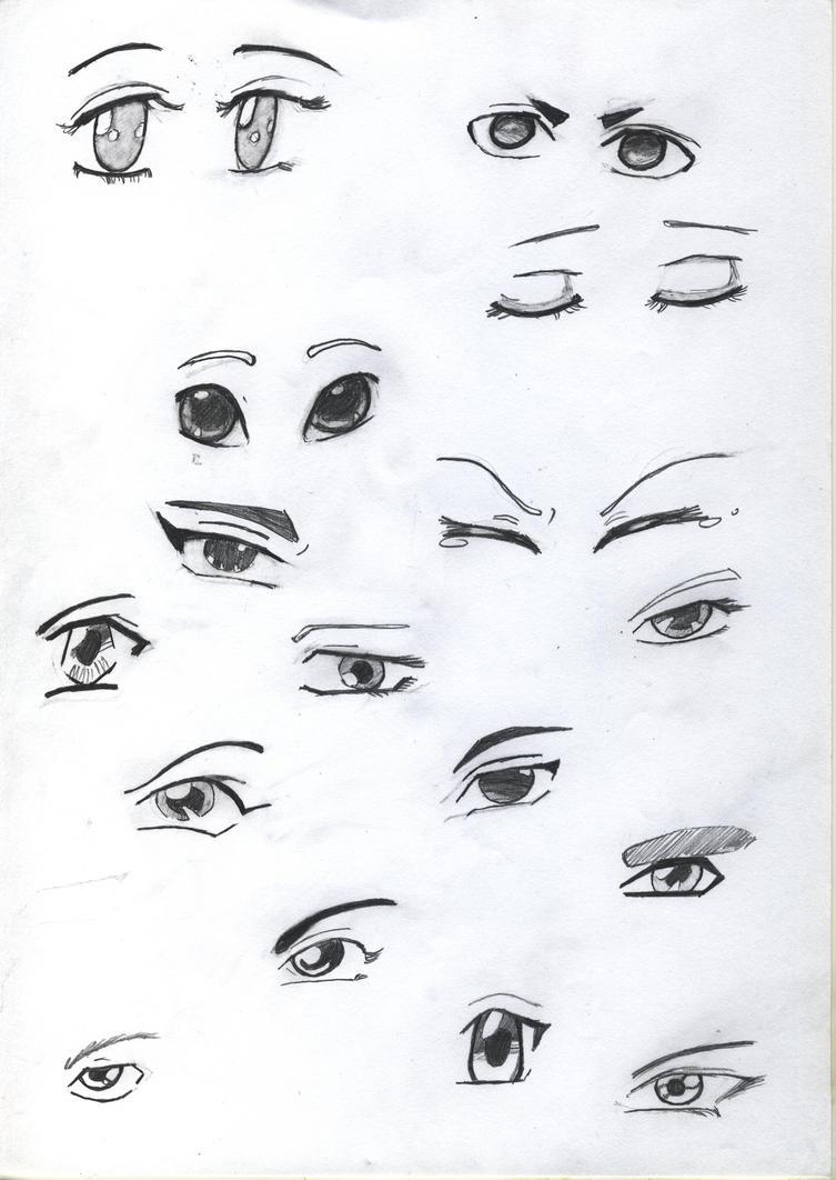 Practice Sketck: Anime Eyes by flamingcreater