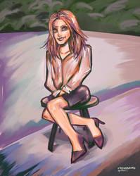 Daily Paint 11th Jan 2019 Girl Sitting Red Hair by friendbeard