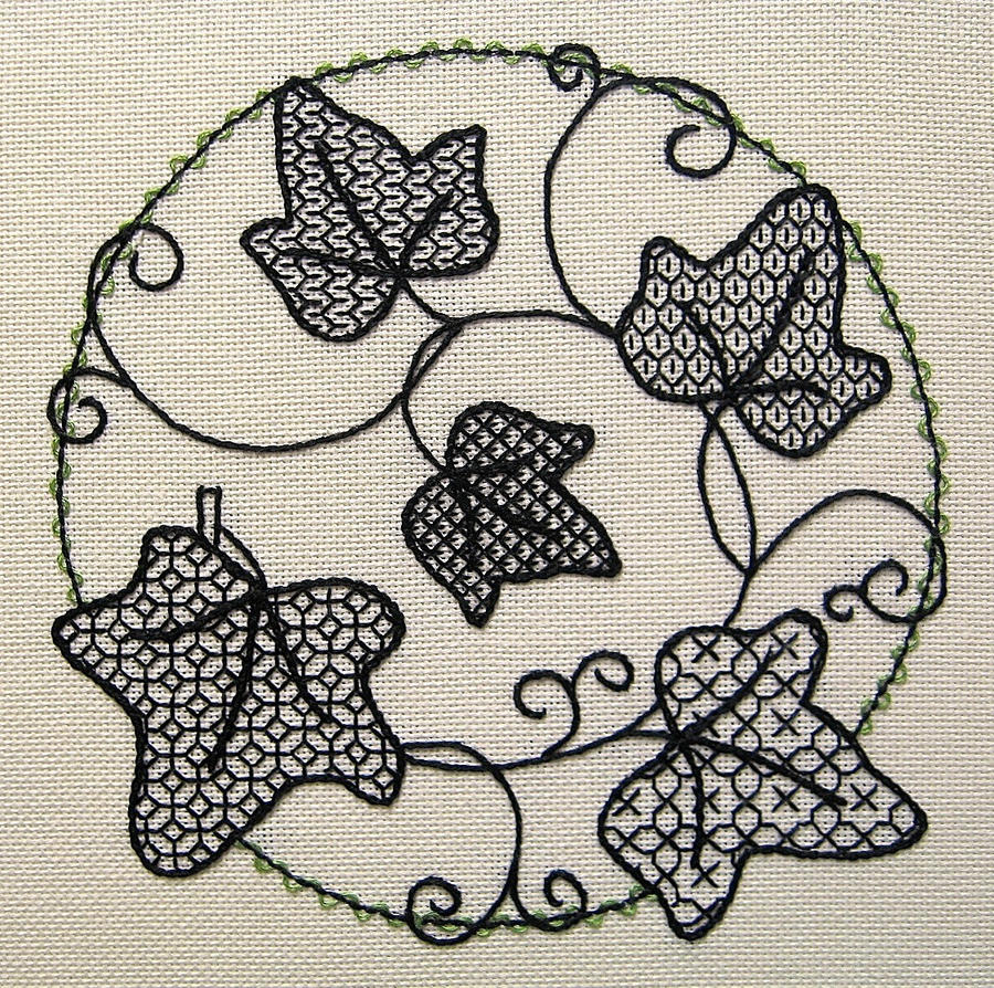 Blackwork ivy by ralrayembroidery on deviantart