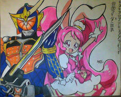 Kamen Rider Gaim and Cure Whip by vocaloidHM01