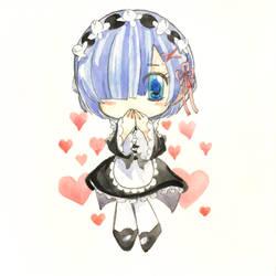 [ watercolor chibi ] re:zero rem