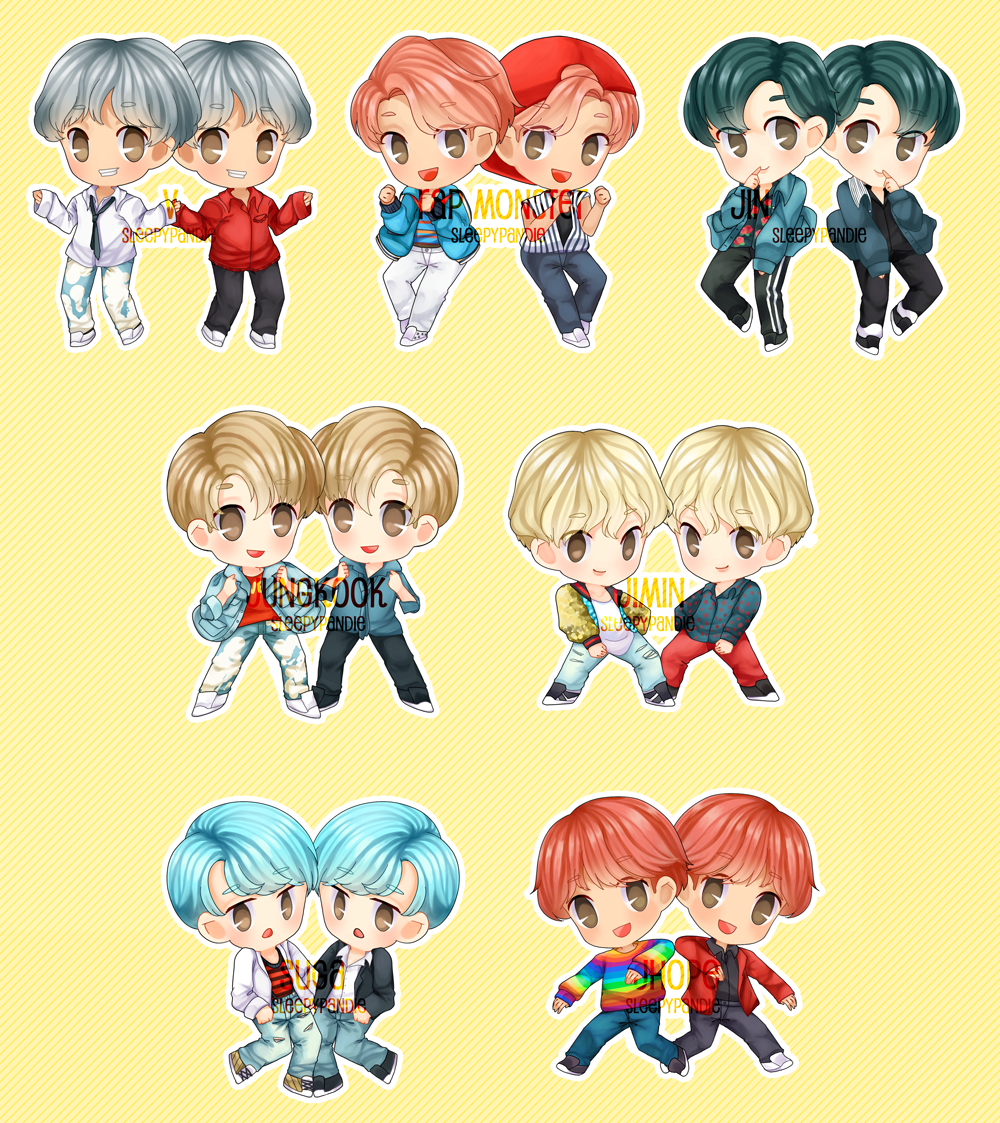 [ chibi ] BTS DNA stickers and chamrs