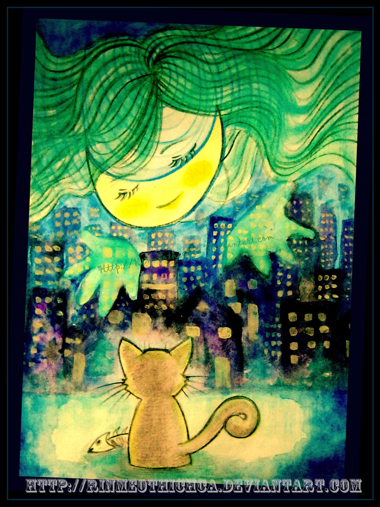Moon in the eyes of a cat by Rinmeothichca