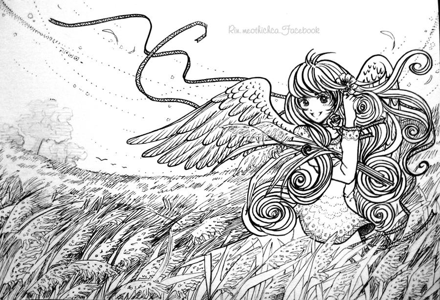 Girl and pasture (line art) by Rinmeothichca