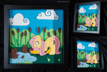 Fluttershy Feeding the Otters Shadowbox by PheiPlushies