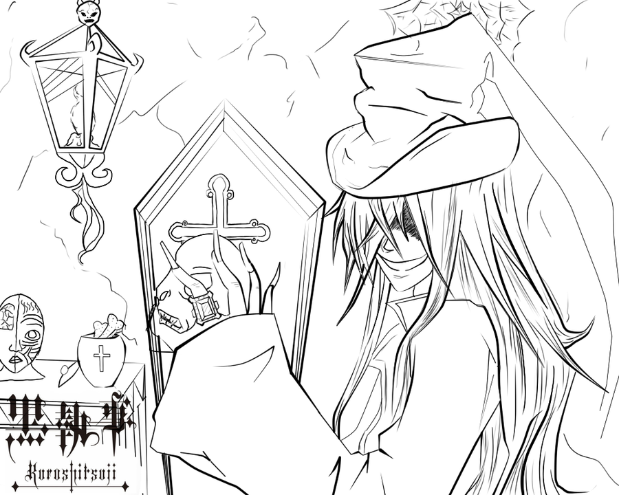 undertaker lines by undertaker black butler coloring pages - Black Butler Chibi Coloring Pages