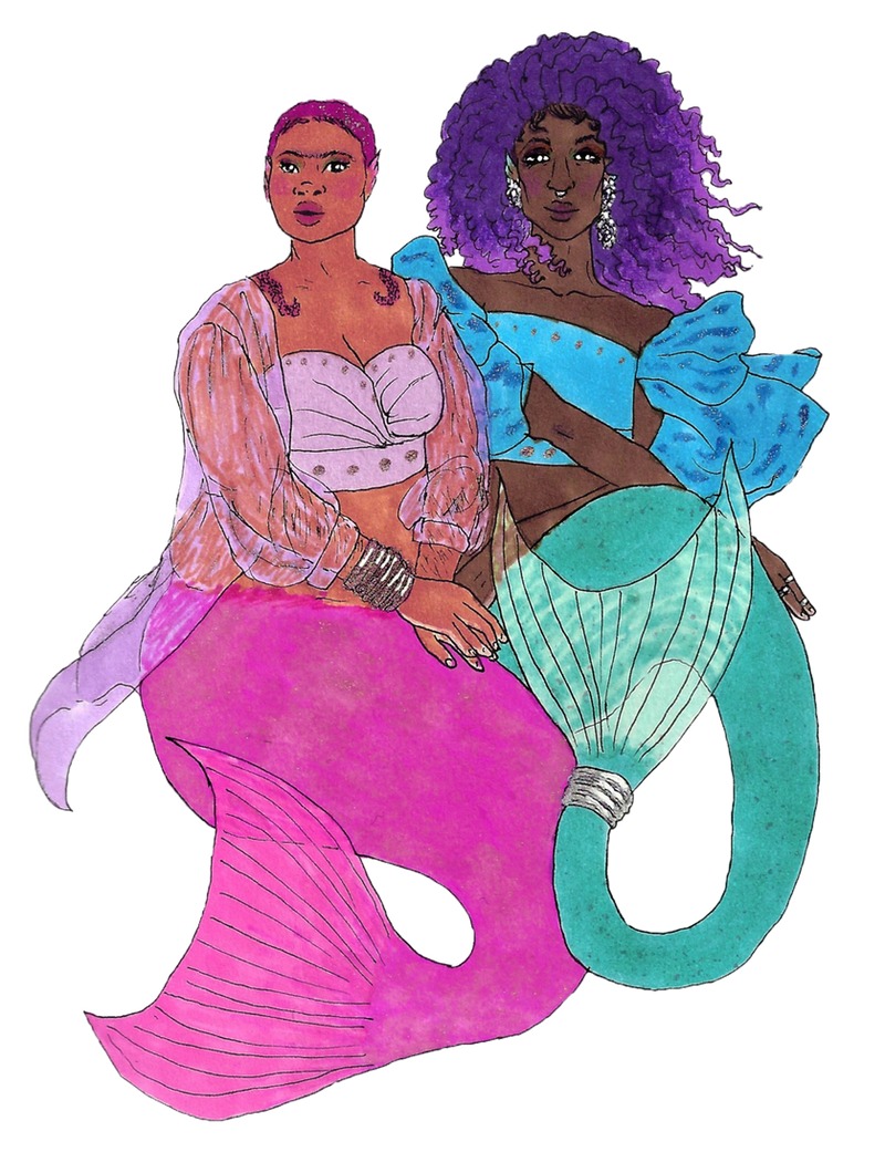 Pink and Teal Merfolk by MommaCabbit