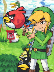 Link and The Angry Birds by Jenninaitsu