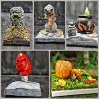 Miniature Halloween Tile Scenes Collect Them All