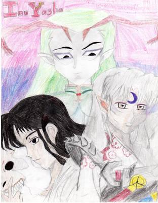 Naraku, Menomaru and Sesshomaru by HybridCatgirl995