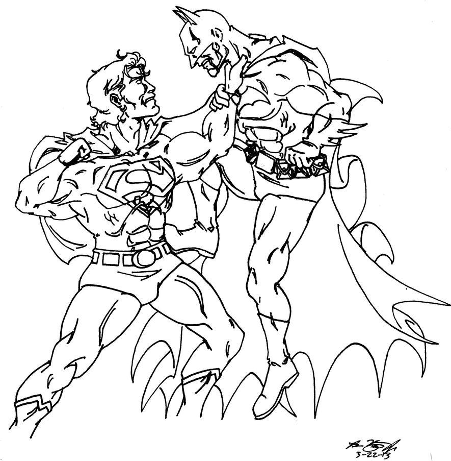 Line Art Vs No Line Art : Superman vs batman line art by alexdino on deviantart