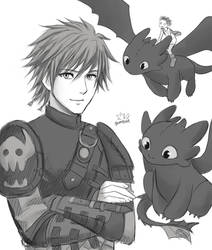 Hiccup and Toothless by Gumbat-Art