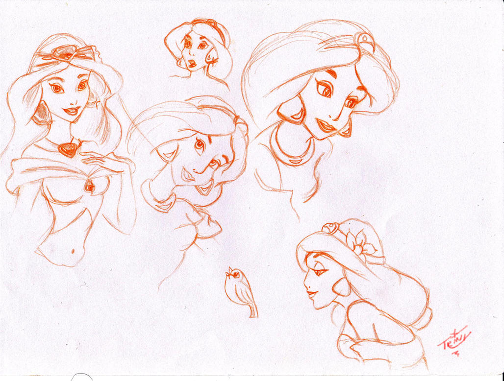 From the pages of my sketchbook: Princess Jasmine by Tr1nks1e