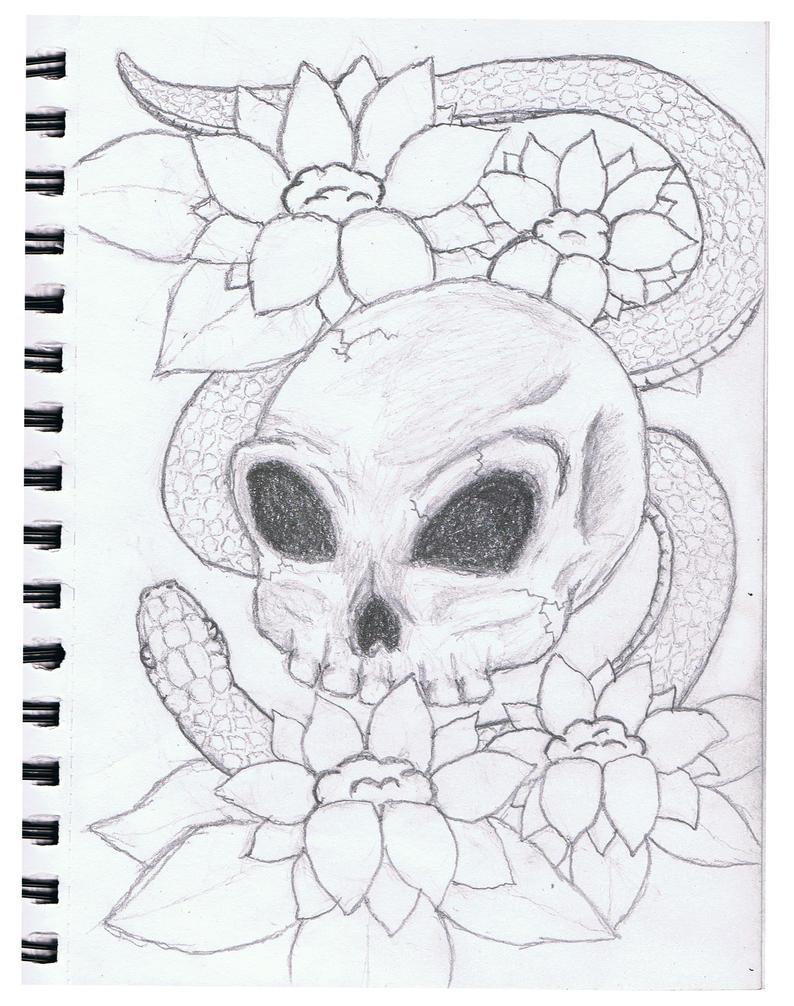 skull x snake sketch by silentrain86 on deviantart