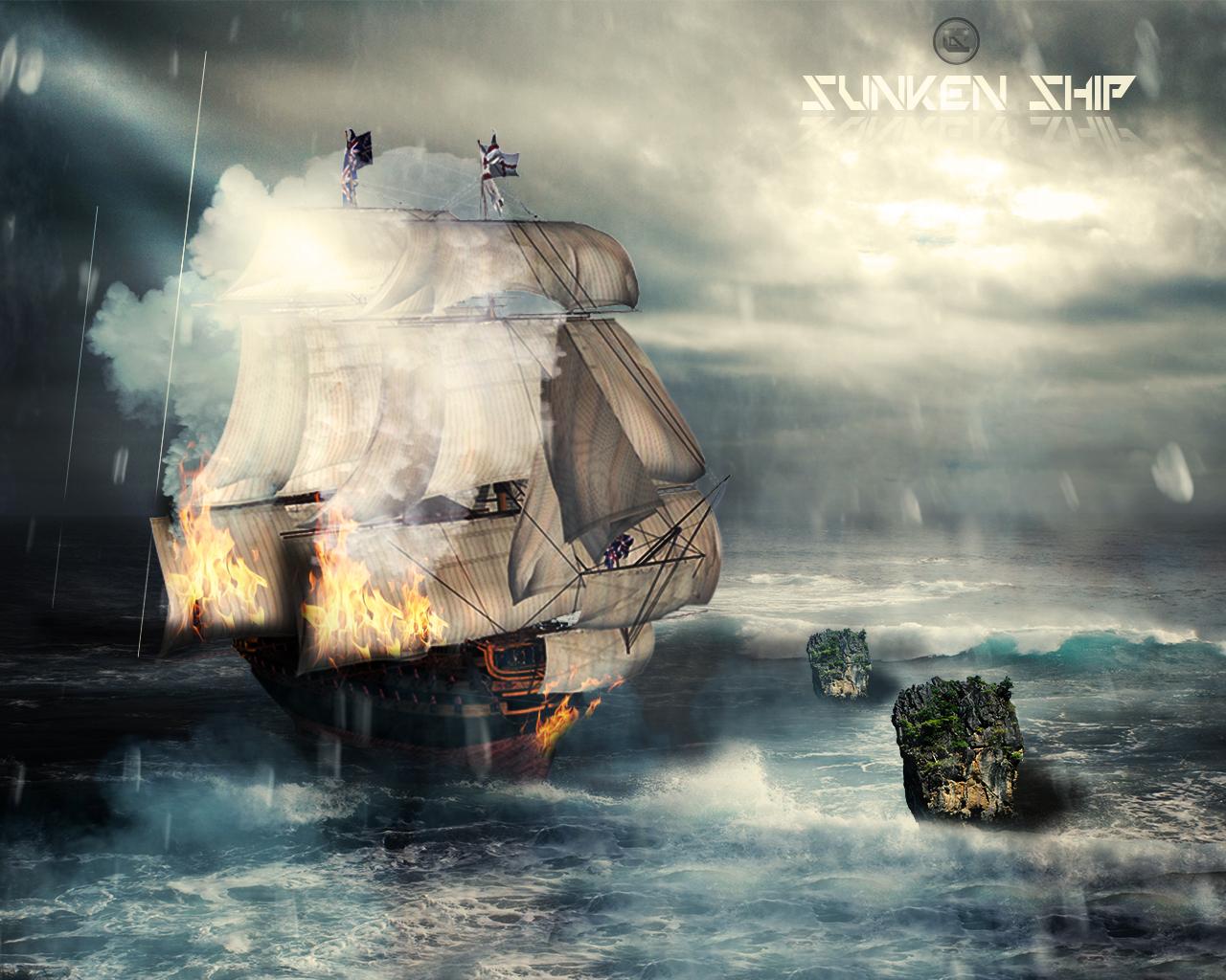 Sunken Ship Wallpaper By CLoSeDesign