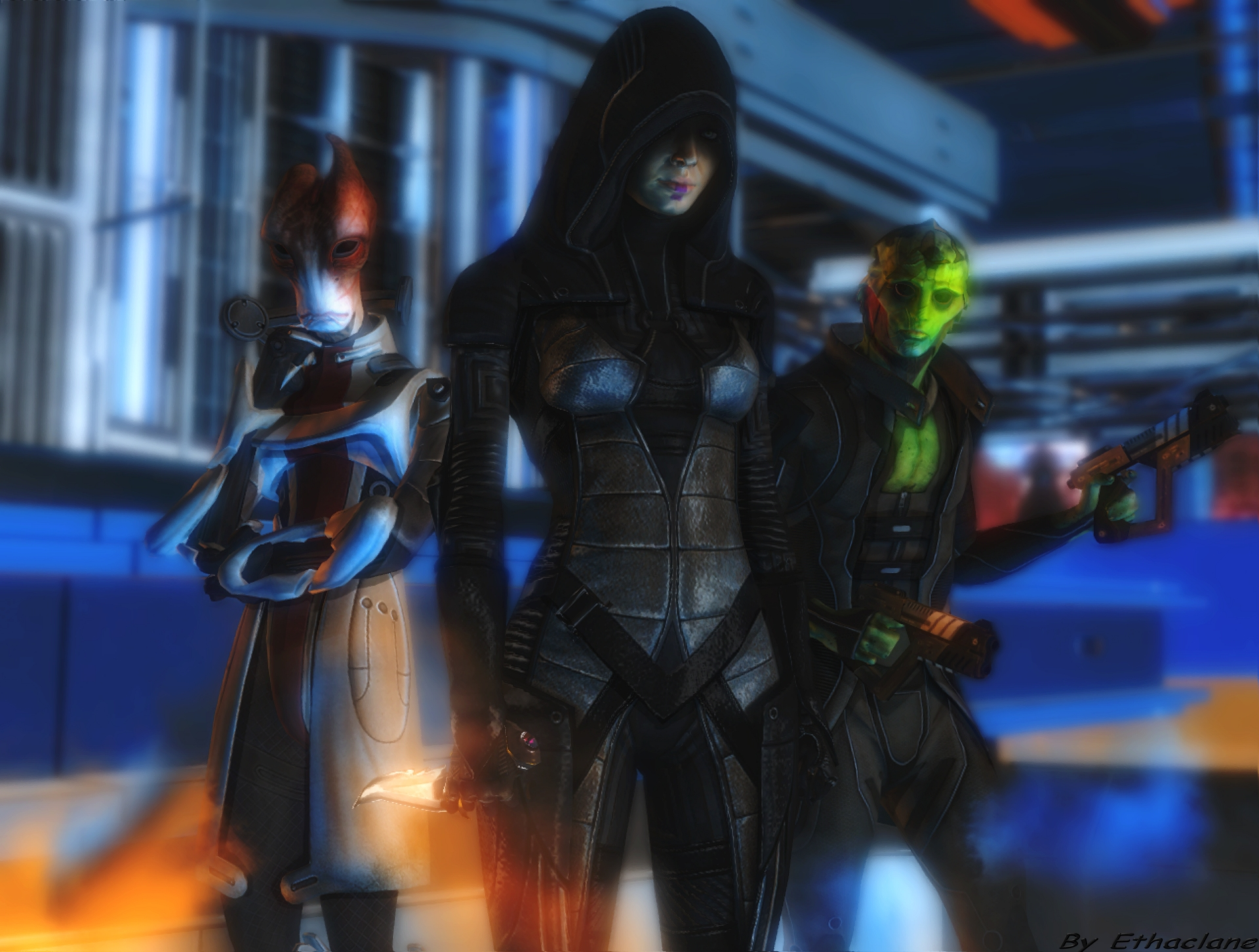 Mass effect wallpaper 10 - Kasumi/Thane/Mordin by ethaclane