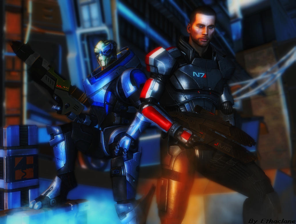 Mass effect wallpaper 14 - Shepard and Garrus by ethaclane