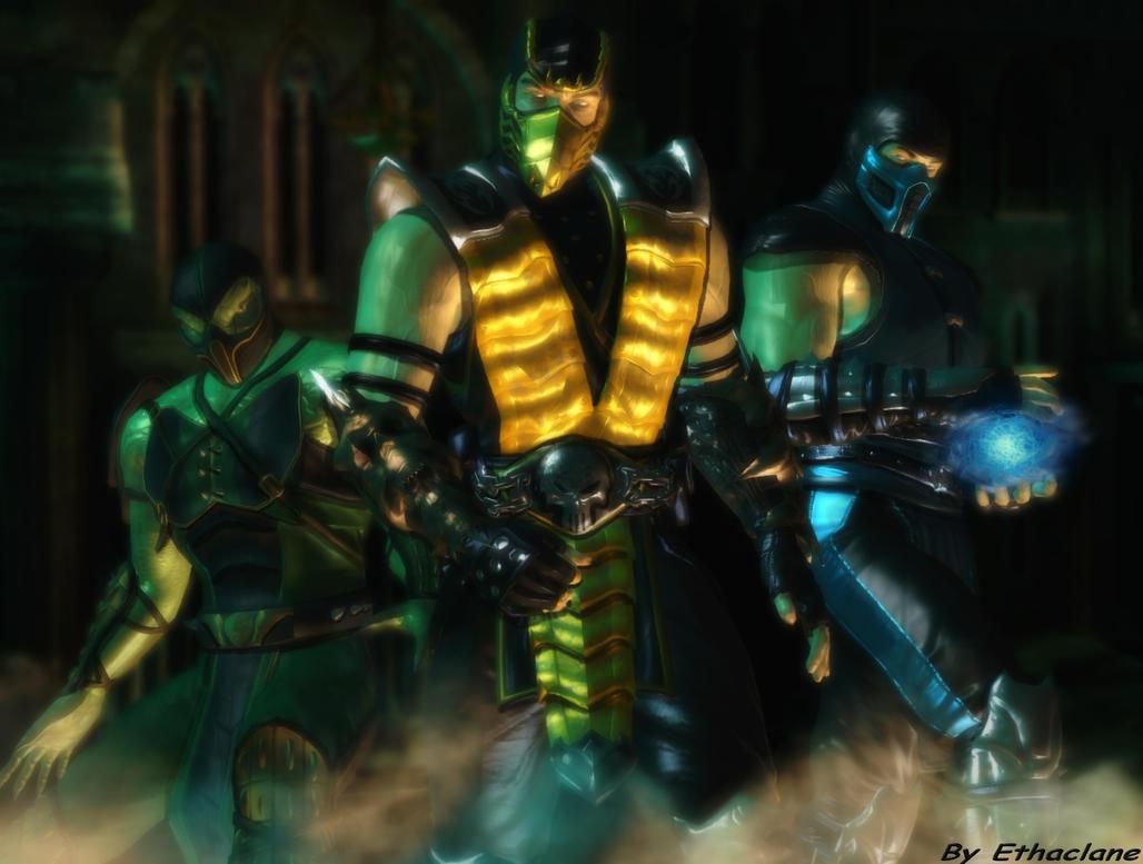 Mortal kombat wallpaper -Scorpion/SubZero/Reptile by ethaclane
