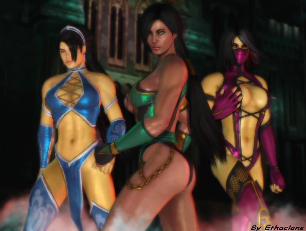Mortal kombat wallpaper-Kitana/Mileena/Jade by ethaclane
