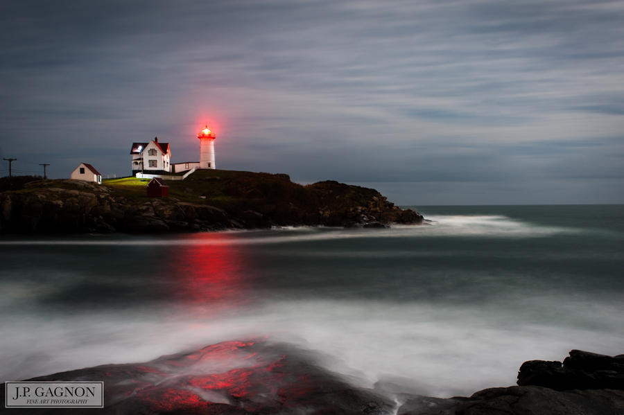 A stormy night at Nubble Light by JPGagnon