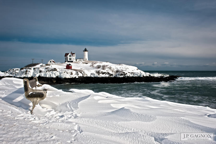 Winter At Nubble Light by JPGagnon