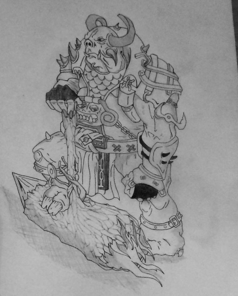 Completed sketch: Battle Ogre by comicrockstar