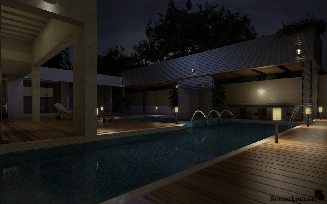 Modern house at night by brunolollato on deviantart for Modern house at night